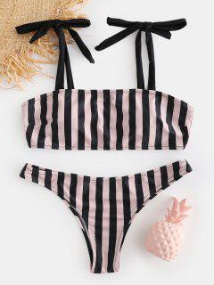 Krawatte Schulter Gestreiften Bikini Set - Schwarz S