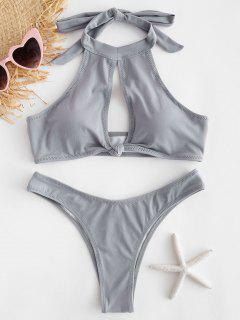 Halter Schlüsselloch Knoten Bikini Set - Graue Wolke M