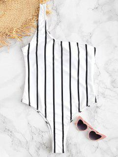 Striped One Shoulder Swimsuit - White L