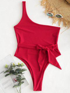 One Shoulder Bralette Swimsuit - Lava Red M