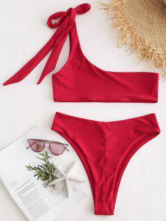 Ensemble De Bikini Soutien-Gorge à Une Epaule - Rouge Amour L