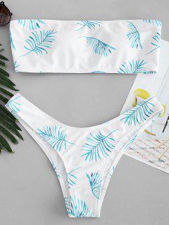 Ensemble De Bikini Bandeau Feuille Imprimée - Blanc L