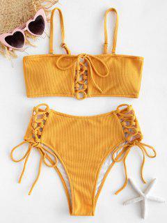 Ribbed Lace Up Bikini Set - Bright Yellow L