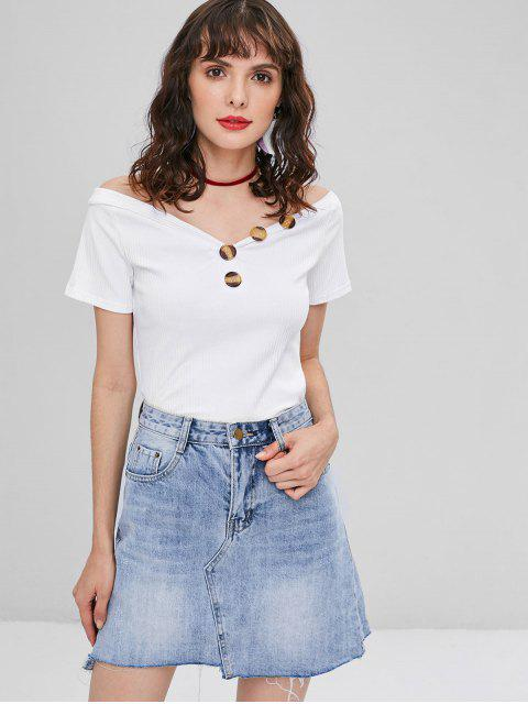 women's Ribbed Buttons Tee - WHITE L Mobile