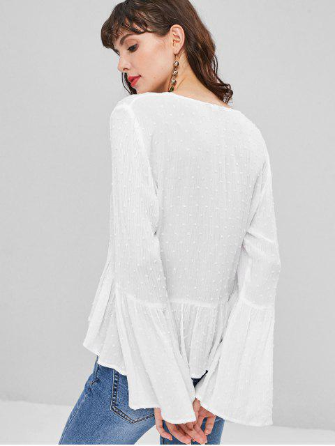 buy Flare Sleeve Knotted Ruffles Blouse - WHITE M Mobile