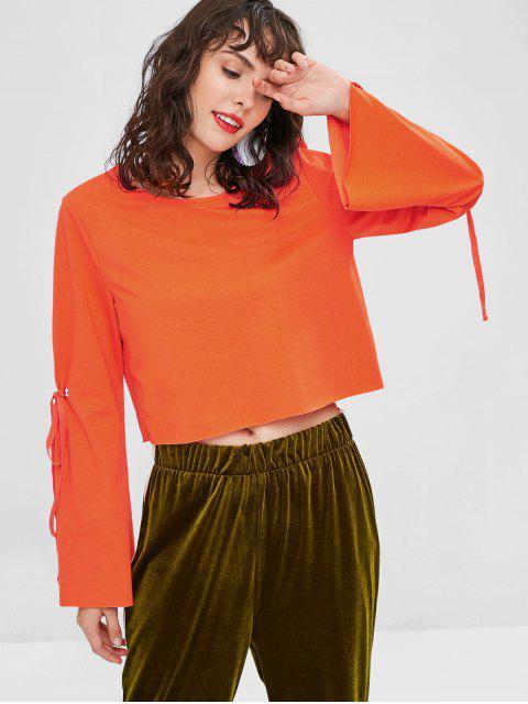 women Bell Sleeve Bow Cropped Sweatshirt - PUMPKIN ORANGE L Mobile