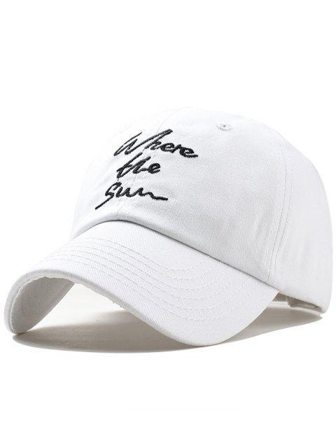 Chapeau avec Imprimé Inscription Brodée - Blanc  Mobile
