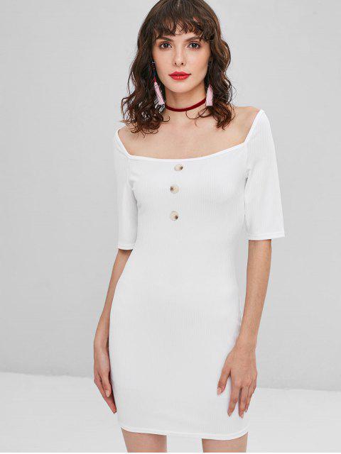 Knopf Geripptes Bodycon Kleid - Weiß L Mobile