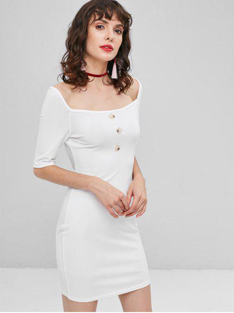affordable Buttoned Ribbed Bodycon Dress - WHITE L Mobile