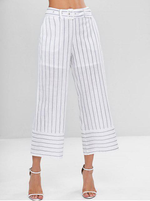 Pantalon Corsaire Ceinturé et Rayé - Blanc M Mobile
