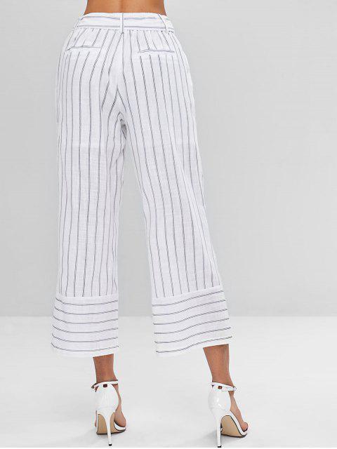 sale Striped Belted Capri Pants - WHITE L Mobile