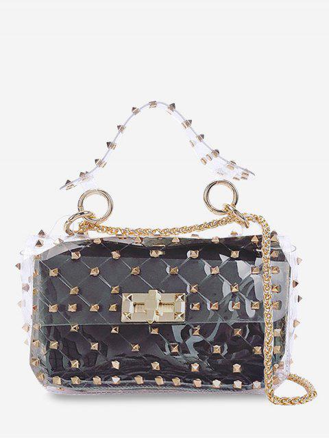 2 Piezas Lucid Rivet Jelly Crossbody Bag Set - Negro Horizontal Mobile