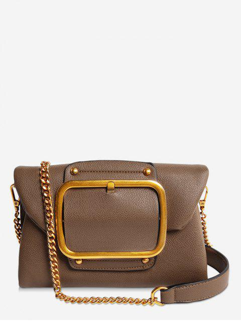 trendy Buckle PU Leather Flap Crossbody Bag - BROWN HORIZONTAL Mobile