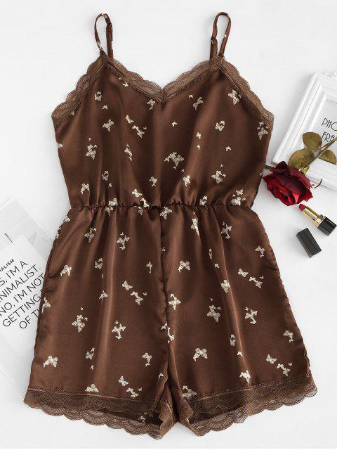 outfits Cami Butterfly Print Slinky Sleep Romper - COFFEE XL Mobile