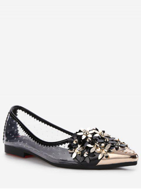 shops Chic Crystal Studded Floral Metal Pointed Toe Flats - BLACK 38 Mobile