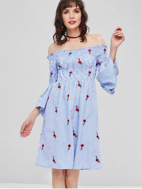 Robe Rayée et Froncée à Épaules Dénudées avec Broderie - Bleu de Ciel  Taille Unique Mobile