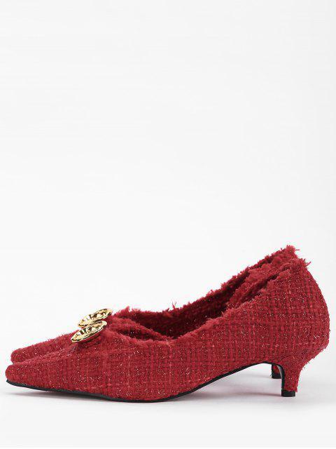 Scarpe Vintage Con Punta Appuntata E Bottone Metallico E Tacco - Rosso Mollissima 36 Mobile