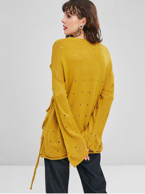 Riemchen Openwork Übergroße Pullover - Goldgelb Eine Größe Mobile