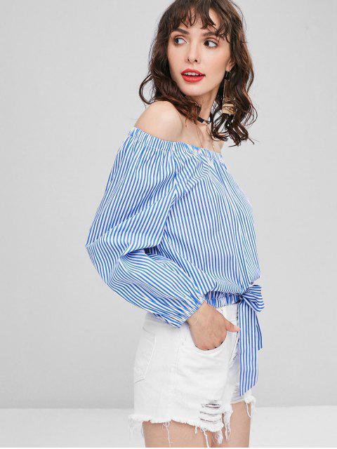 shops Off Shoulder Stripes Blouse - BLUEBERRY BLUE L Mobile