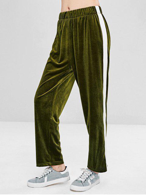 Pantalon Droit en Velours de Couleurs Contrastées - Vert Fougère M Mobile