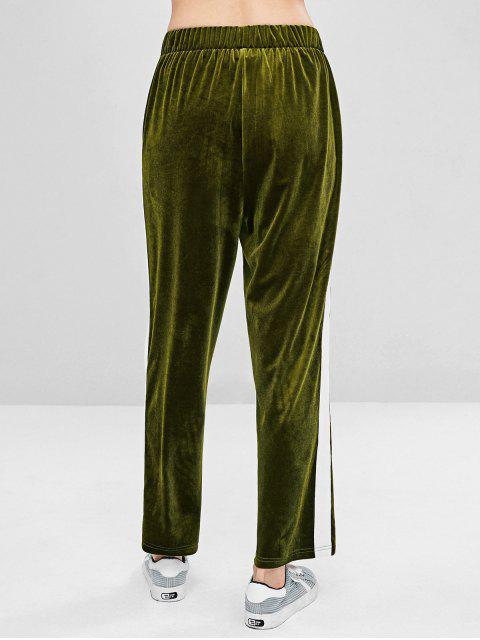 women Contrasting Velvet Straight Pants - FERN GREEN L Mobile