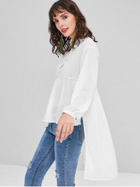 ladies Textured High Low Blouse - WHITE S Mobile