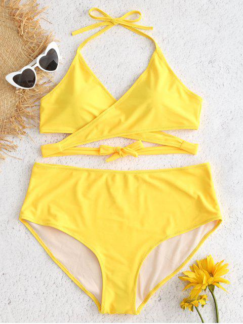 shop Plus Size High Rise Wrap Bikini Set - SUN YELLOW 1X Mobile
