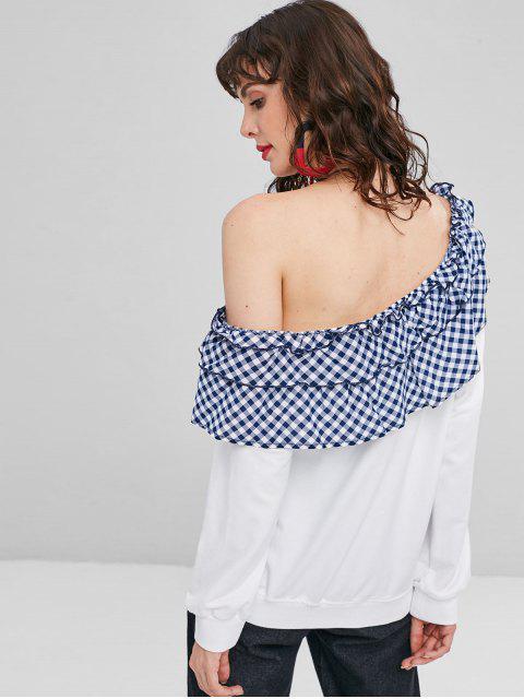 trendy Checked Ruffles One Shoulder Sweatshirt - WHITE L Mobile