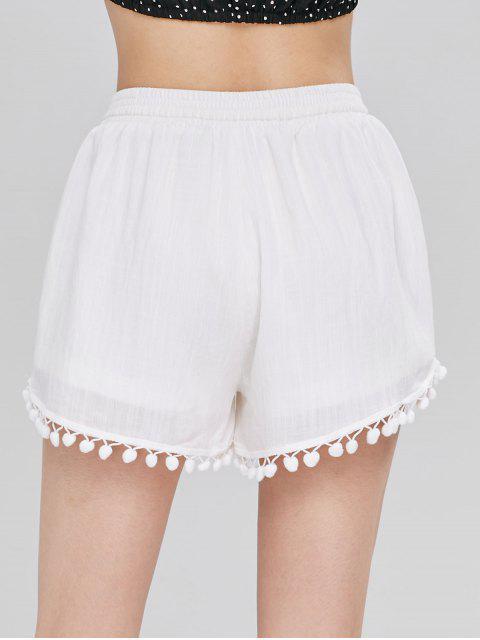 Short à Taille Haute avec Bordure en Pompons - Blanc M Mobile