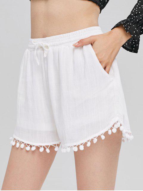Short à Taille Haute avec Bordure en Pompons - Blanc L Mobile