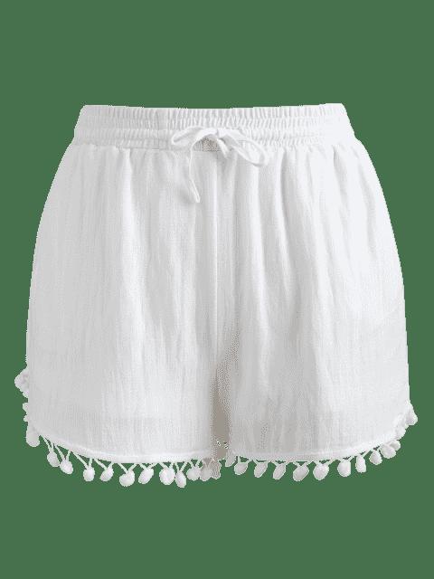 Short à Taille Haute avec Bordure en Pompons - Blanc XL Mobile
