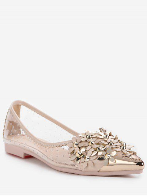latest Chic Crystal Studded Floral Metal Pointed Toe Flats - APRICOT 35 Mobile