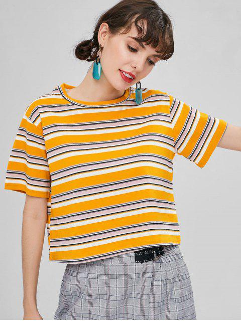 fashion Chunky Striped T-shirt - BEE YELLOW L Mobile