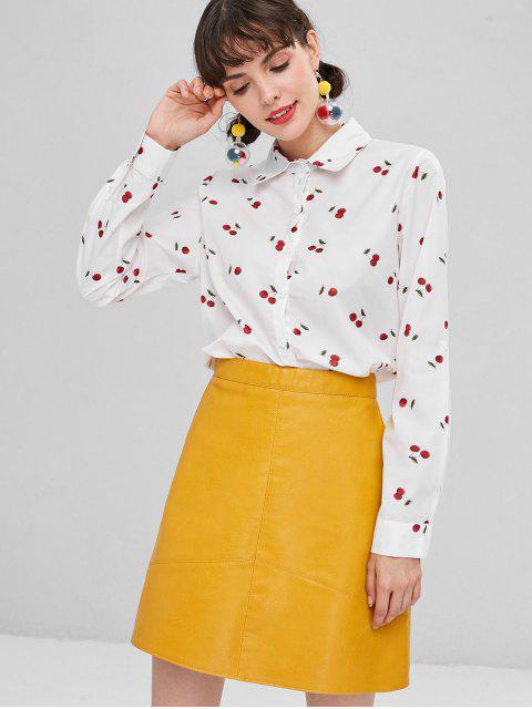 Camisa de cerezo con botones - Blanco L Mobile