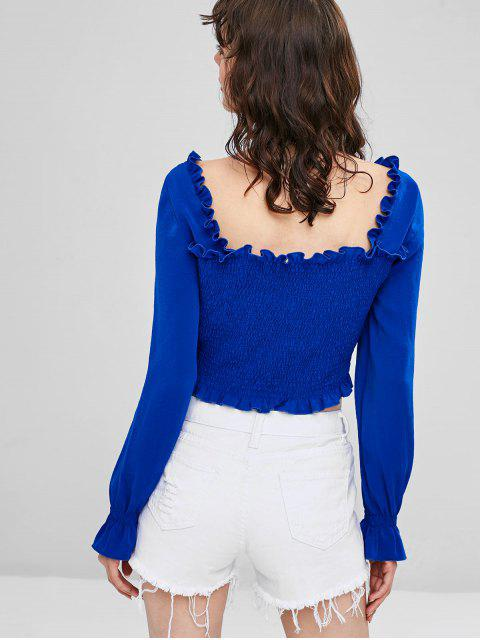 chic Frilled Trims Smocked Crop Blouse - BLUE XL Mobile