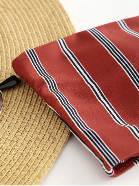 outfits Strapless Striped Bikini - RED WINE L Mobile