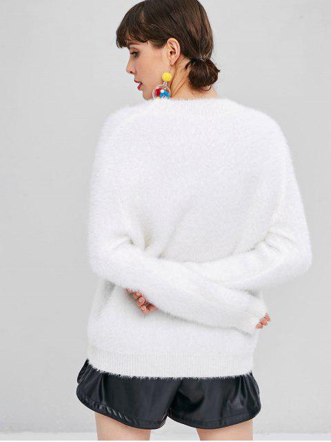 trendy Textured Heart Embroidered Sweater - WHITE ONE SIZE Mobile