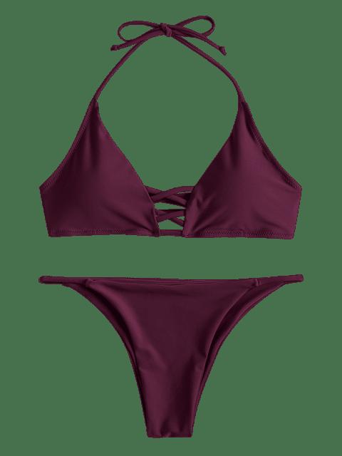 fashion Strappy Halter Bikini Set - PLUM VELVET L Mobile