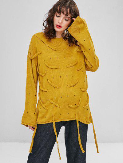 Strappy Openwork Oversized Sweater - Golden Brown