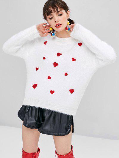 Textured Herz Bestickter Pullover - Weiß