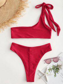 f3f35a18837a4 18% OFF  2019 One Shoulder Bralette Bikini Set In LOVE RED