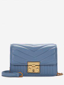 على شكل V خياطة حقيبة حبال مبطن - أزرق أفقي