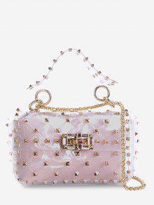 مجموعة من 2 قطعة من Lucid Rivet Jelly Crossbody Bag - وردي فاتح أفقي