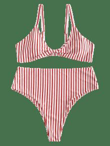 Y Talla Grande 1x Conjunto De Alto Multicolor Rayas Corte De Bikini A WAnqB1gZ