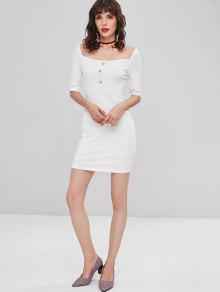 S Blanco Abotonado Acanalado Ajustado Vestido qwxS4x
