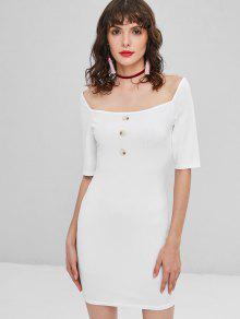 فستان بقصة ضيقة مضلع - أبيض L