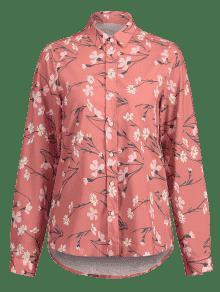 Floral Camisa Coral M Claro Abotonada H88wF