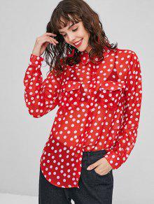 Camisa De Lunares Con Bolsillos Con Solapa - Rojo M