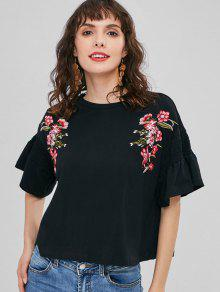 Bordada Negro Floral Shirred S Camiseta wOgaOCqR