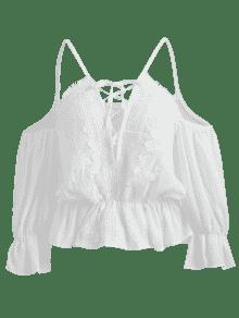 Y Blanco Con Descubiertos Crochet Blusa Con Cordones Hombros CT0CwqX